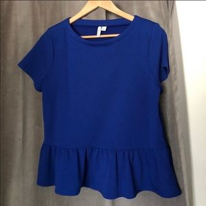Elle-Peplum Blue Top
